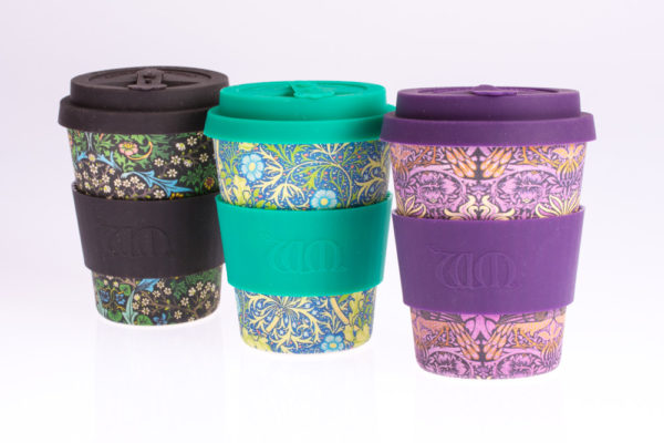 EcoffeeCup bamboebeker, coffee to go, zwart, turquoise, paars william morris, 350ml koffiebeker theebeker