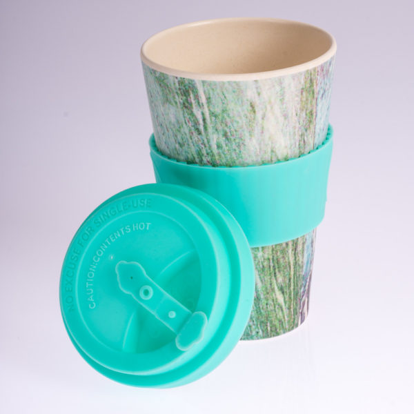 Ecoffeecup koffiebeker theebeker turquoise abstract 400ml coffee to go, duurzame bamboebeker