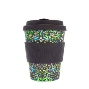 EcoffeeCup bamboebeker, coffee to go, zwart, william morris
